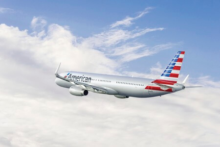 american airlines airbus a321neo airborne in flight rear view