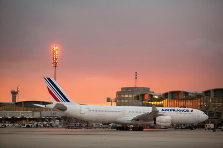 air france airbus a340 300 f glzs parking at terminal