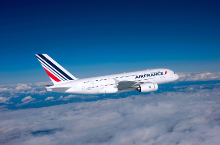air france airbus a380 800 f hpja airborne above clouds flying left