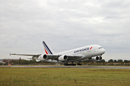 air france airbus a380 800 f hpja takeoff front view