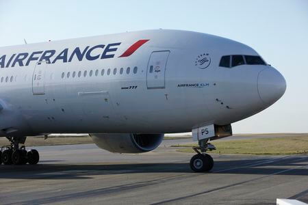 air france boeing 777 200er f gsps taxiing on apron nose view