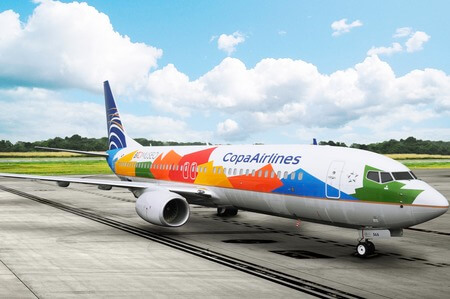 copa airlines boeing 737 800 in bio museum livery