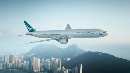 cathay pacific boeing 777 300er b kpm airborne over hong kong