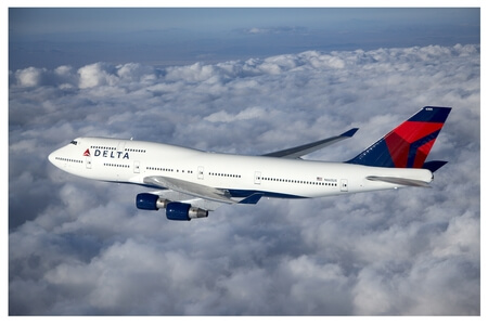 delta air lines boeing 747 400 n665us airborne