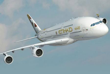 etihad airways airbus a380 800 airborne head on rendering