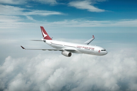 cathay dragon airbus a330 300 b hyq airborne above clouds rendering