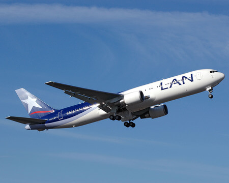 lan airlines boeing 767 300er cc cwf airborne after takeoff