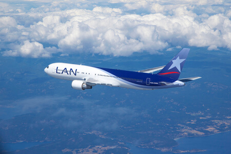 lan airlines boeing 767 300er cc cwh airborne over coast