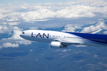 lan airlines boeing 767 300er cc cwh airborne over landscape nose view