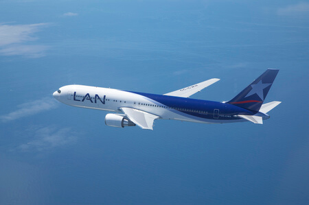 lan airlines boeing 767 300er cc cwh airborne over sea