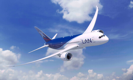 lan airlines boeing 787 8 airborne head on