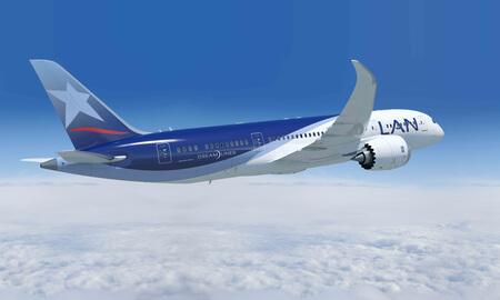 lan airlines boeing 787 8 airborne tail view
