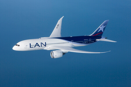 lan airlines boeing 787 8 cc bba airborne clear sky