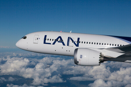 lan airlines boeing 787 8 cc bba airborne over nose view
