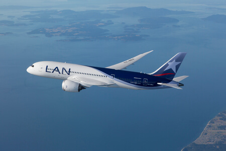 lan airlines boeing 787 8 cc bba airborne over sea