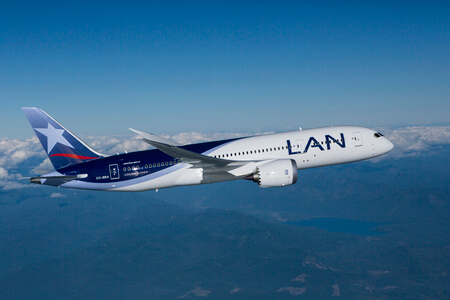 lan airlines boeing 787 8 cc bba airborne side view
