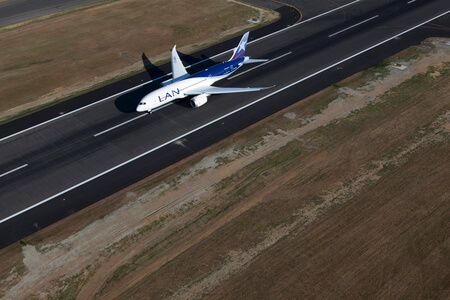 lan airlines boeing 787 8 cc bba takeoff taken from above