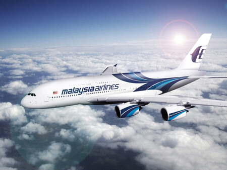 malaysia airlines airbus a380 airborne flying right to left rendering
