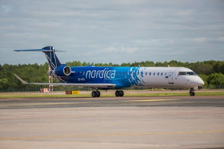 Nordica Bombardier CRJ 900 ES-ACG taxiing at Tallinn Airport