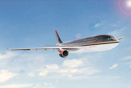 royal jordanian airbus a330 airborne flying on a sunny day