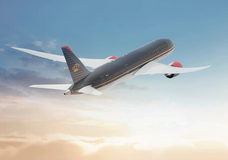 royal jordanian boeing 787 a2a airborne from rear