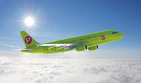 s7 airlines airbus a320 200 VP BCZ airborne flying above clouds at an angle headed east