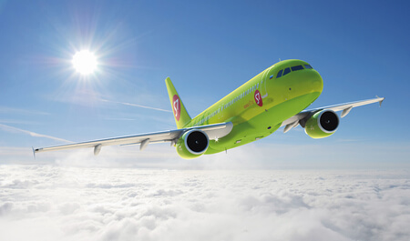 s7 airlines airbus a320 200 VP BCZ airborne flying above clouds at an angle