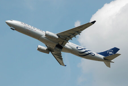 Aeroflot Airbus A330-300 VQ-BCQ airborne after takeoff London Heathrow in Skyteam livery 20140702